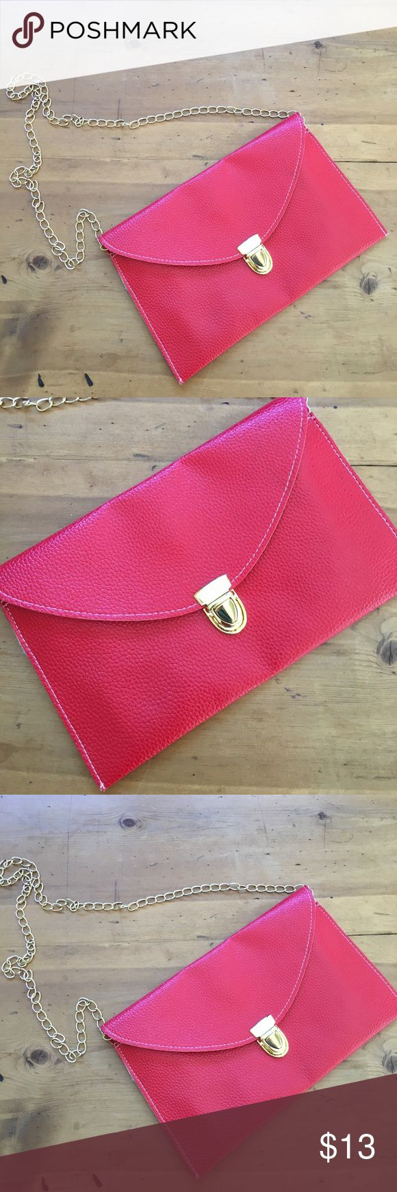 🍀Red Clutch or Crossbody Bag Great condition lightweight simple gold hardware interior clean and spotless buckle outside and magnetic closure inside  26 inches long including chain 7 inches deep 11 inches wide no rips tears or stains non-smoking environment💕 Bags Clutches & Wristlets