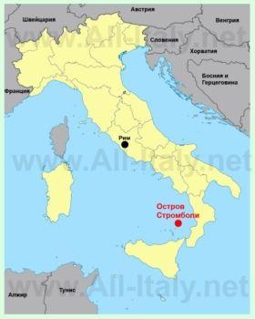 Остров Стромболи на карте Италии