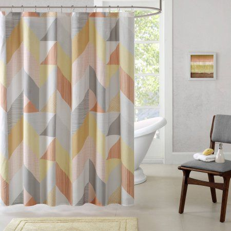 Home Essence Apartment Tivoli Cotton Printed Shower Curtain, Orange