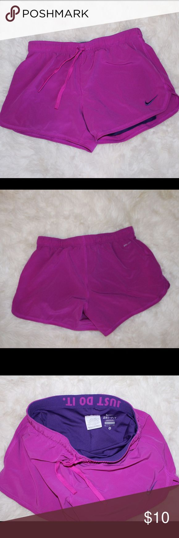 Nike Dri-Fit Women's Purple Shorts -drawstring - not tempo -barely worn -thick band with Just Do it Nike Shorts