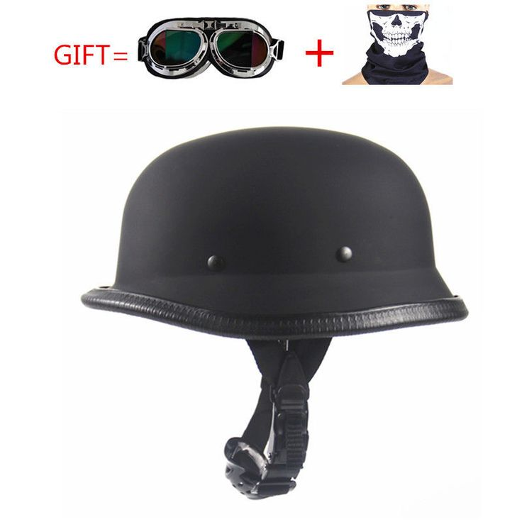 Motorcycle Half Helmet Kit WWII Style Chopper Black Goggles Open Face German RL #MotorcycleHalf #Scooter