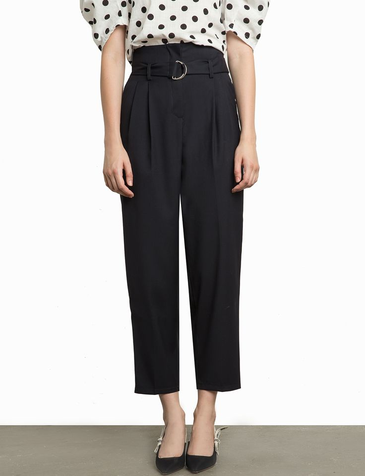 Black Belted High Paper bag Waist Pants Made by usRuns polyester,  cottonModel is wearing a size small and model's height is smallength: 3