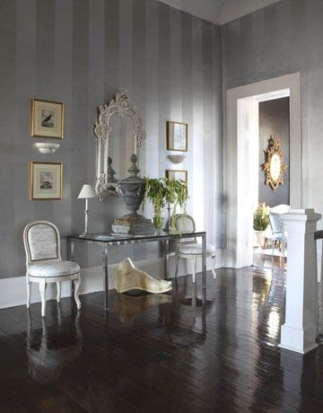 ,Decor, Dining Room, Stripes Wall, Wall Treatments, Entrance Halls, Striped Walls, Painting Ideas, Homes, Gray Wall