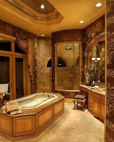 Rich Gold & Brown Master Bath.