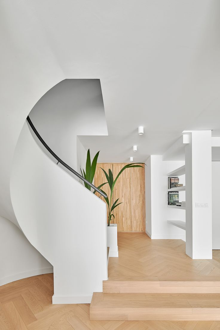 Dwell - Beautiful duplex in Barcelona - Interior design by CONTI, CERT; curvy staircase