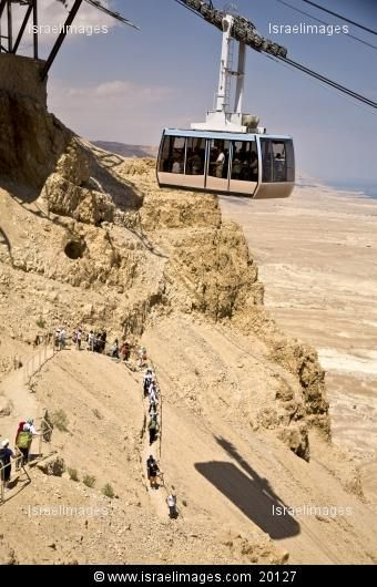 Masada, Israel: Cable Car with View of Dead Sea with Hikers below.  (Trust me, take the cable car, no matter how scared you are of heights!!!)