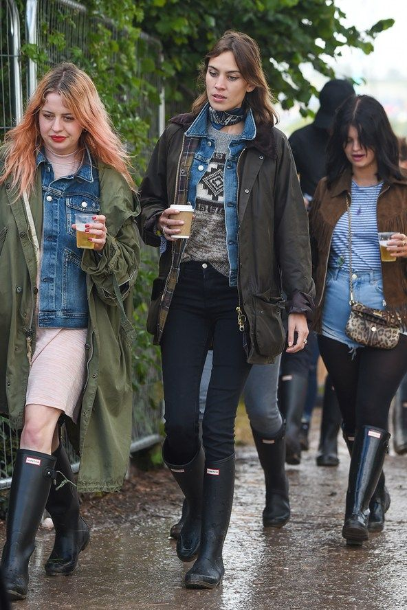 June 27th 2015. Alexa wore a Barbour jacket and Hunter Original wellingtons at the Glastonbury festival.