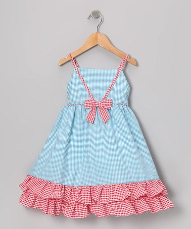 Another great find on #zulily! Blue & Red Gingham Ruffle Dress - Infant, Toddler & Girls #zulilyfinds