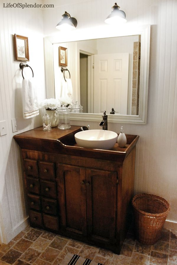 Antique dry sink turned vanity Room