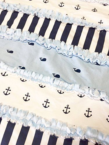 Whales & Anchors Baby Nursery Crib Blanket Rag Quilt Photography Prop Cotton, Cotton Fleece & Minky