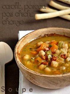 Soupe de pois chiches, poireaux, chorizo & coriandre
