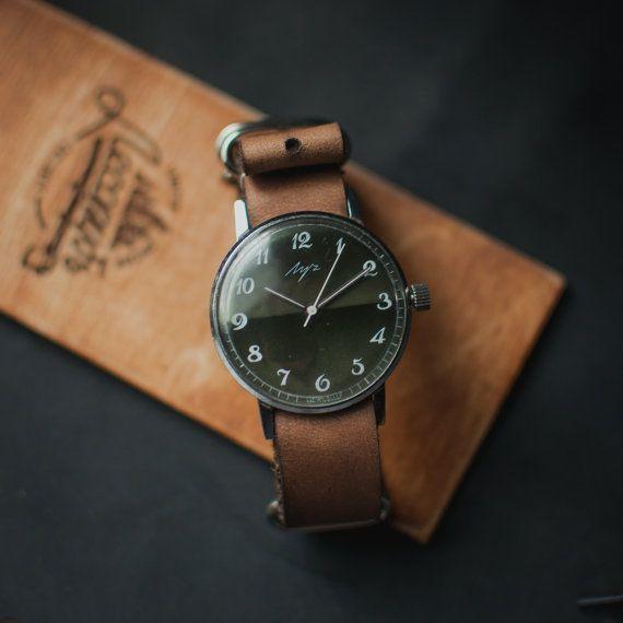 Men's wrist watch, men watch, slim watch, Luch watch, mens watches, vintage watch, green case watch, watches for men