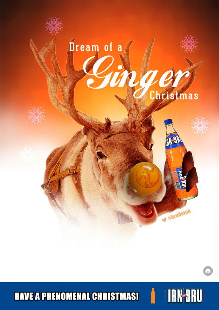 Faux Irn Bru advertising poster 1 'Brudolph the ginger reindeer'