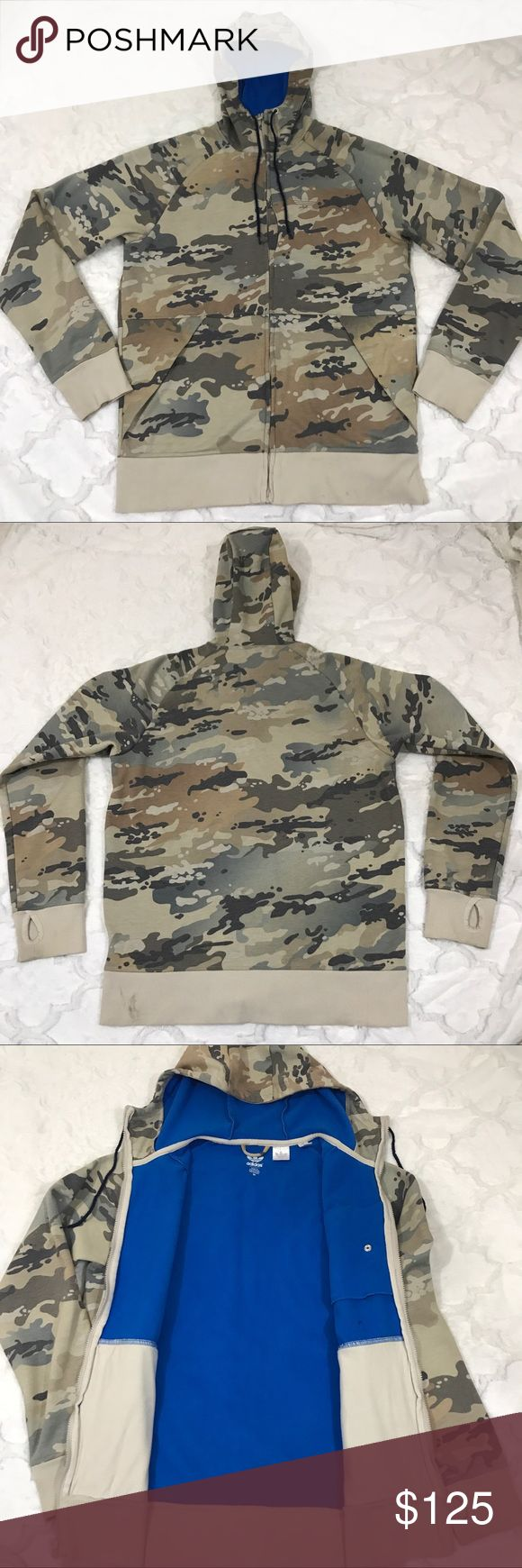 Adidas camo jacket hoodie sweatshirt M Men's adidas sweatshirt. Full zip. Has some stains on the jacket as you can see in the photos. This is a rare jacket and the fleece inside is in incredible condition. Non smoking home adidas Jackets & Coats