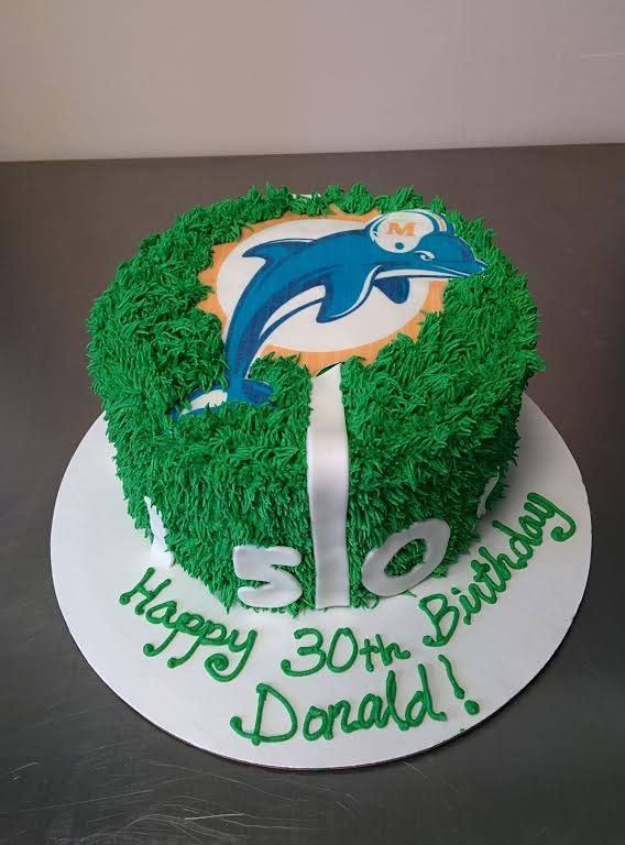 Miami Dolphins football field 30th birthday cake for a man who loves sports