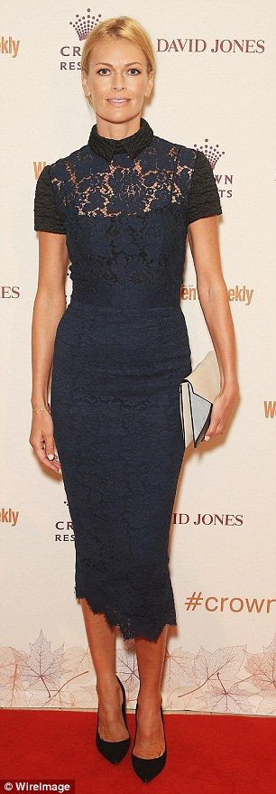 Daring in dark colours: Sarah Murdoch stunned in a navy laced frock while Natalie Barr opted for sleek black