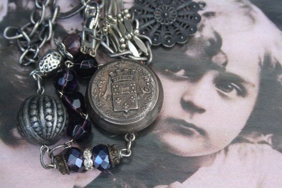 French antique upcycled necklace Compact necklace french