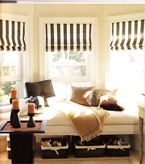 bay window custom bench, open underneath: Window Benches, Curtains, Idea, Romans Shades, Reading Nooks, Window Treatments, Stripes, Window Seats, Bays Window