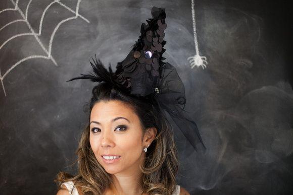 Chapéu de Bruxa Preta com tule
