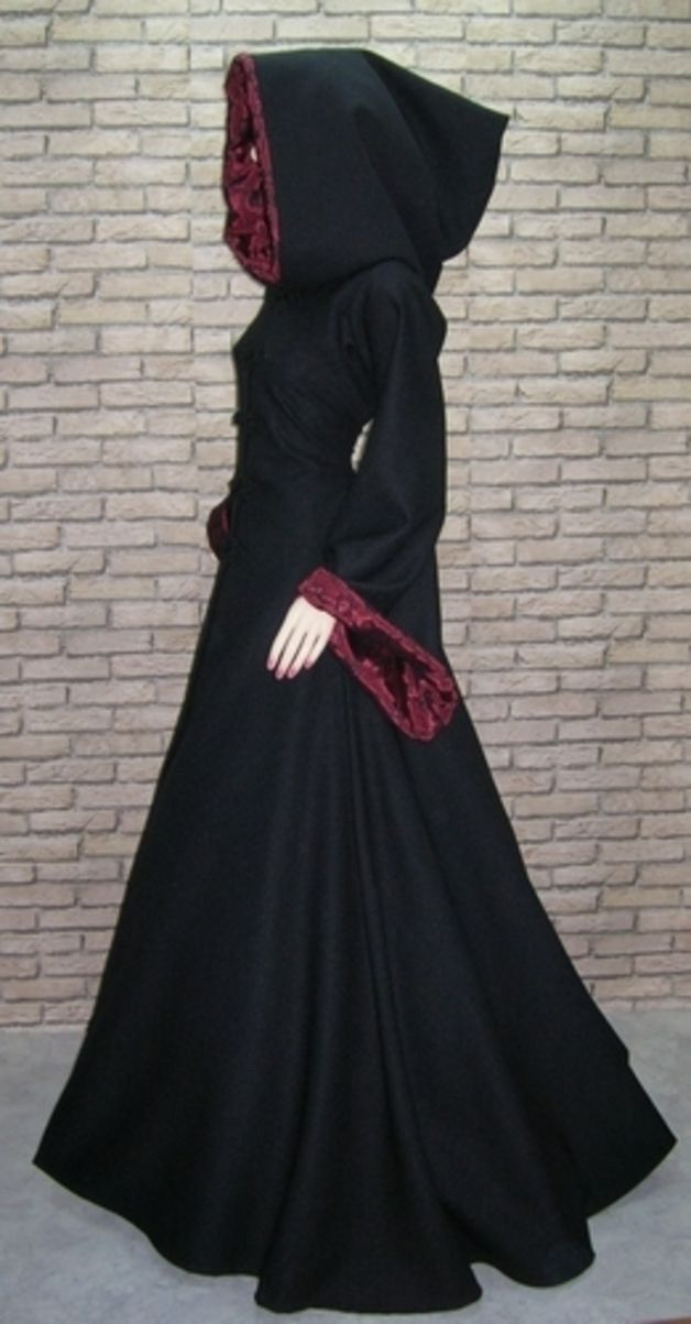 Cape Coat #Renaissance #Medieval #Gothic hooded coat Lined velvet cloak with sleeves #womensGothicjacket