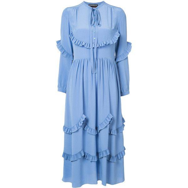 Rochas ruffle trim dress found on Polyvore featuring dresses, blue, frilled dress, rochas, rochas dress, ruffle dress and silk dress