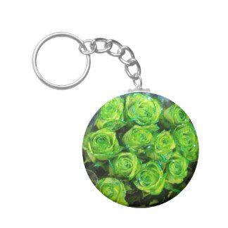 Romantic Love Green Valentine Glitter Roses Basic Round Button Keychain