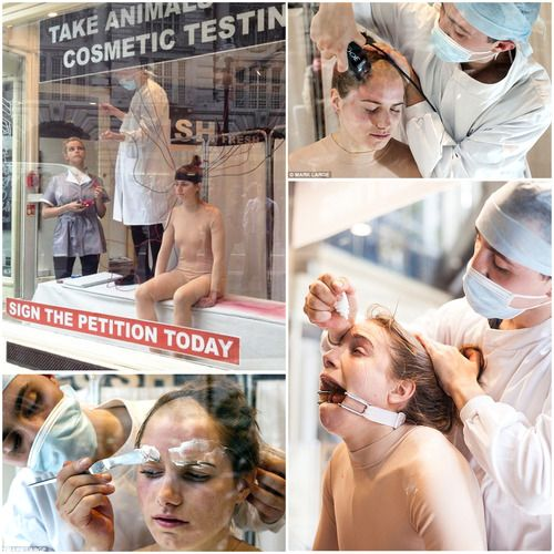 """Jacqueline Traide, a 24-year-old performance artist, was hauled on a leash into the window of Lush's Regent Street shop window. What followed was 10 hours – streamed live, of what animals go through when being used for product testing in the cosmetic industry. L'Oreal is one of the biggest abusers of animals in this manner.  It's easy to avoid products tested on animals…  just read the label and make sure it says """"Not tested on animals"""" If it doesn't say that - it IS TESTED ON ANIMALS"""
