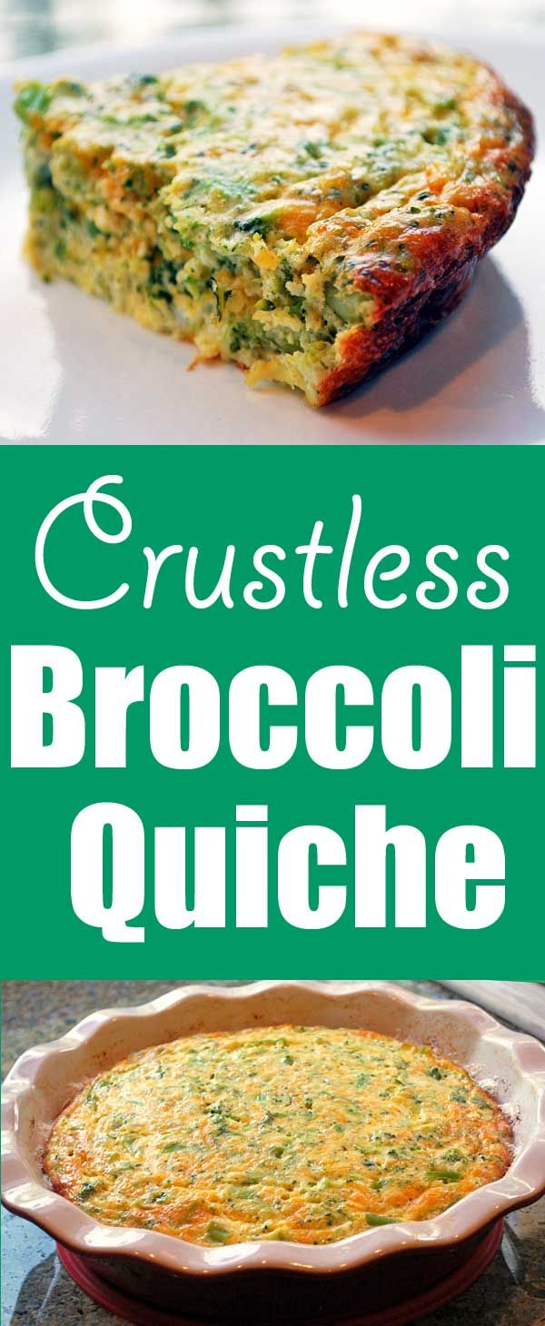 Delicious crustless broccoli quiche makes a quick meatless dinner. It's tasty, filling, low carb and gluten free! via @healthyrecipes