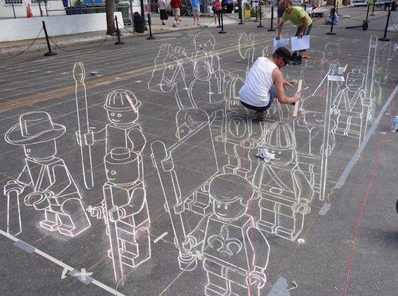 Lego drawn on the ground : 地面に描いたLEGO