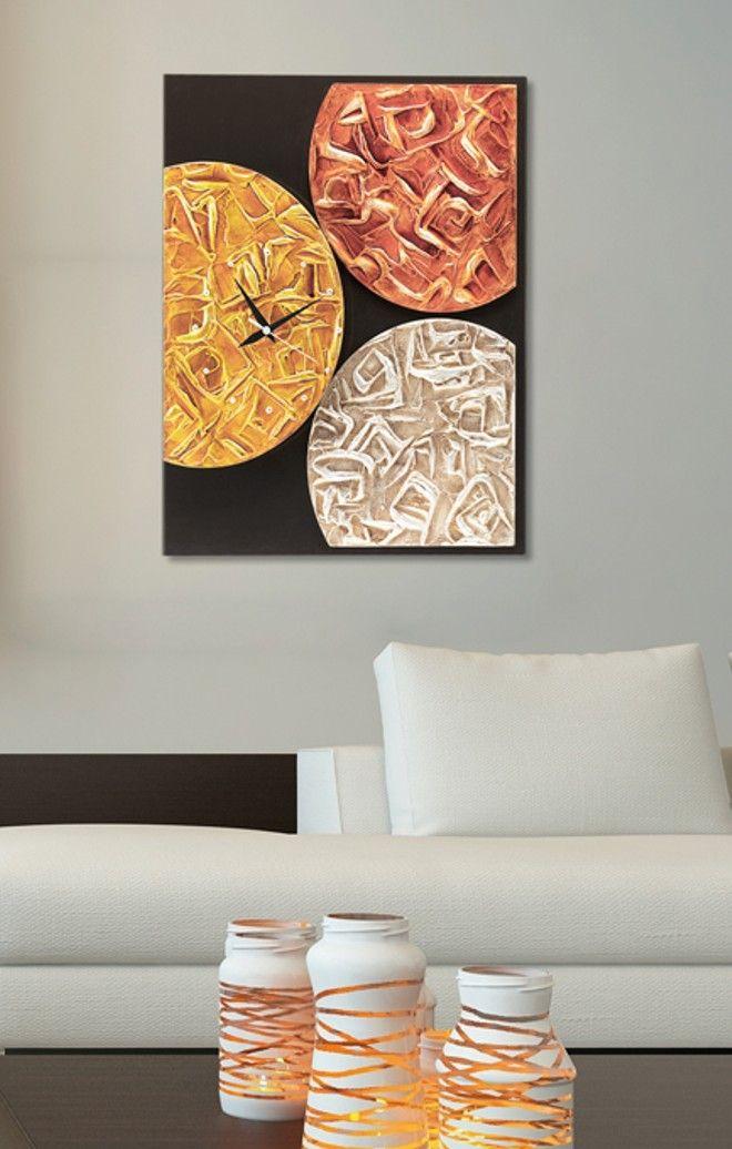P3018 - Magma Time   di PINTDECOR cm 50x60  Tre elementi decorati a mano con materico in rilievo, foglia argento, fondo nero su struttura telata, finitura lucida.  #orologio #quadro #p3018 #magma #time #pintdecor #foglia #argento