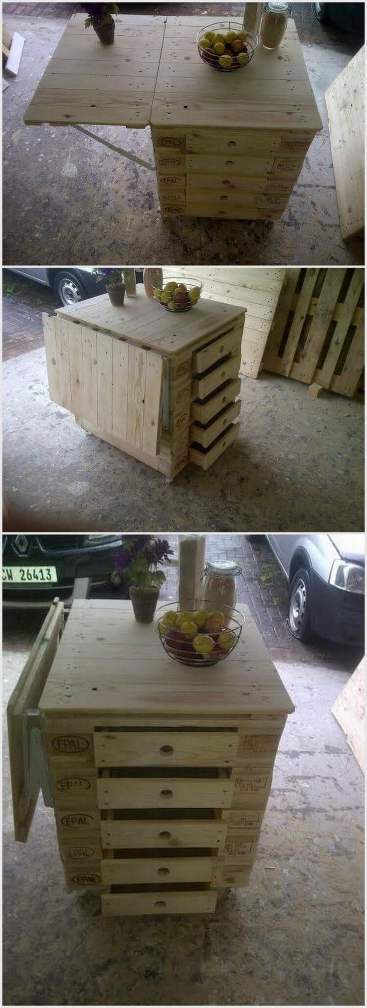 This project of pallet wood is very useful as it has a big board which is easy to fold. You can use it as a table as well. This pallet wood project contains five drawers. You can use it as a computer or end table. You can also put it in your kitchen.