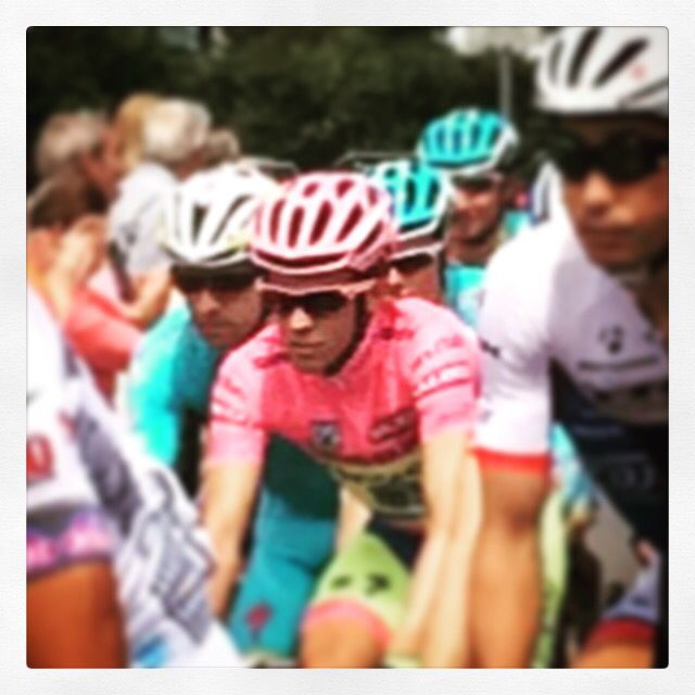 Contador with the maglia rosa