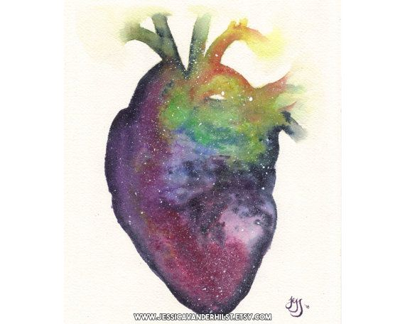 """8""""x12"""" Art print: Anatomical heart filled with stars, watercolour painting 