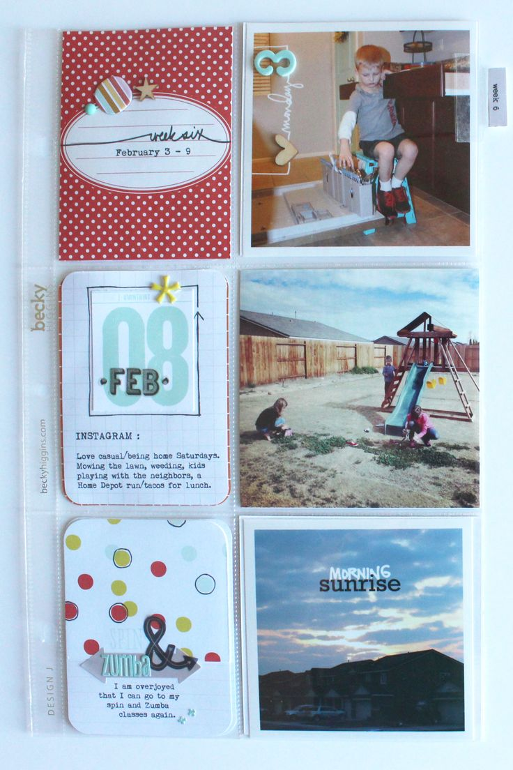 Scrapbook theme ideas - Week 6 Scrapbook Com Mix In Different Sizes In Your Project Life Album