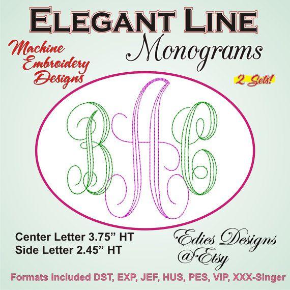 Elegant Line Monograms Machine Embroidery Monogram by EdiesDesigns, $5.95
