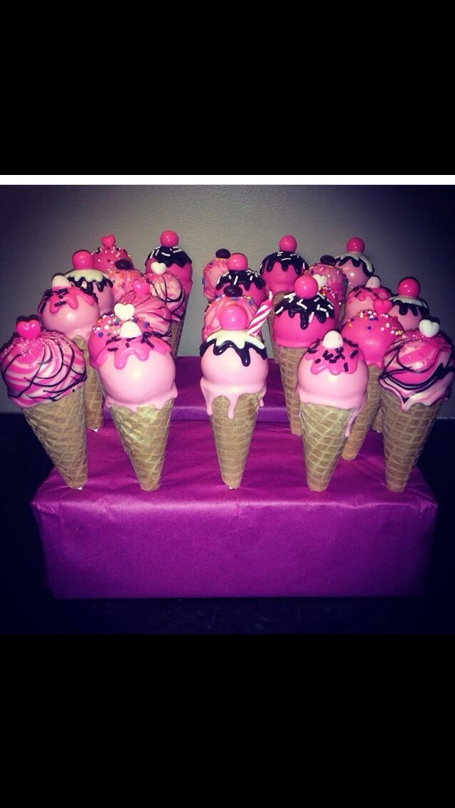 Pink Ice Cream Cone Pops!