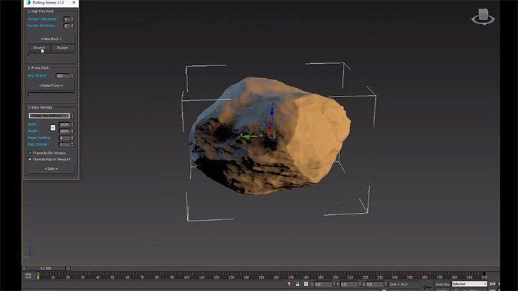 ランダムに岩を生成出来る3dsMaxの無料スクリプト『RStones』。Mayaにも欲しい…。