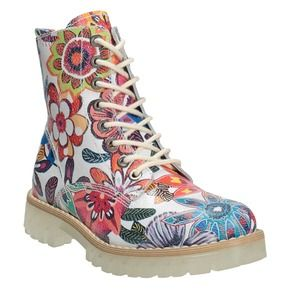 Kožená kotníčková obuv s barevným květinovým vzorem weinbrenner, 596-2640 - 13