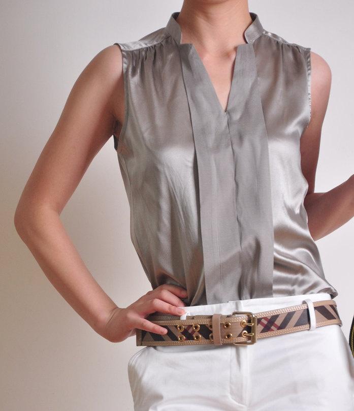 silver grey pure silk satin v neck sleeveless shirt blouse. Black Bedroom Furniture Sets. Home Design Ideas