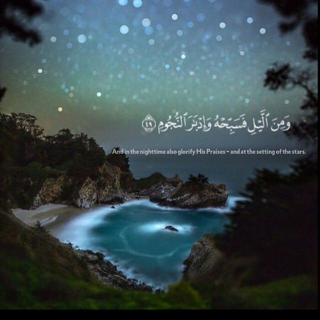 """""""And in the nightime also glorify His Praises - and at the setting of the stars."""" Qur'an"""