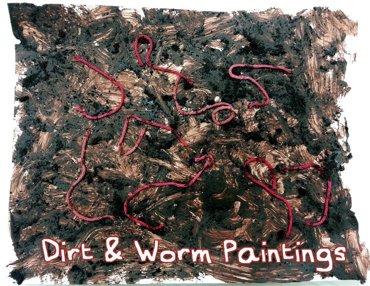 Dirt and Worm Paintings. Great sensory activity with dried coffee grounds, brown paint and pink yarn.