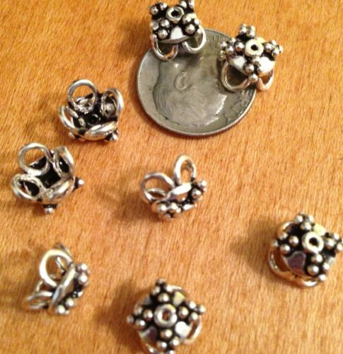 12 pcs STERLING SILVER BALI BEAD CAPS BEADS - 9mm