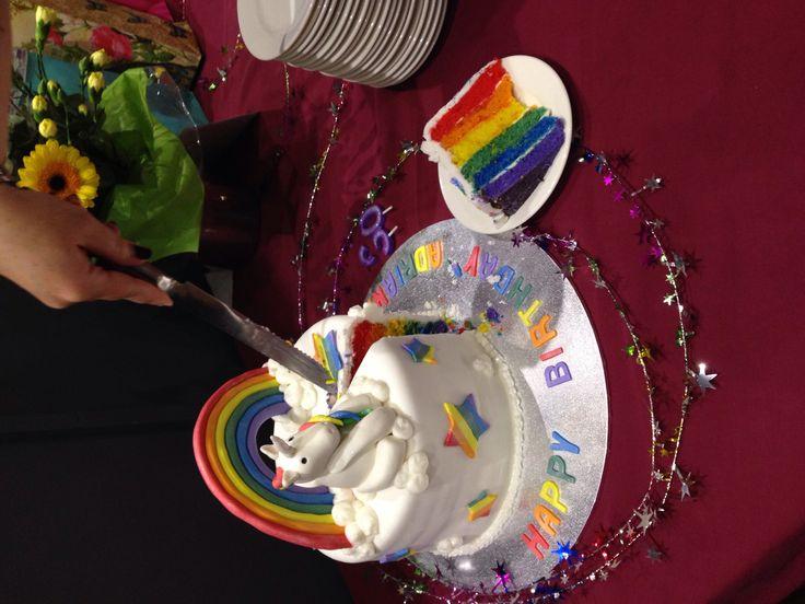 Adriana's 30th unicorn rainbow cake.