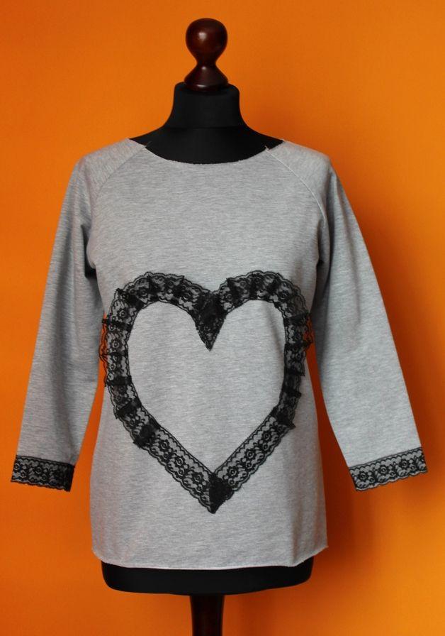 Bluza Siwa Melanż Koronka Serce S-L - RoomStyle - Bluzy