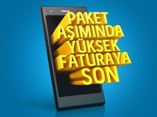 Yüksek paket aşım faturasına son. Turkcell yeni kampanyasıyla, paketinizdeki dakikalar bitse bile avantajlı fiyatlarla konuşturmaya devam ediyor.