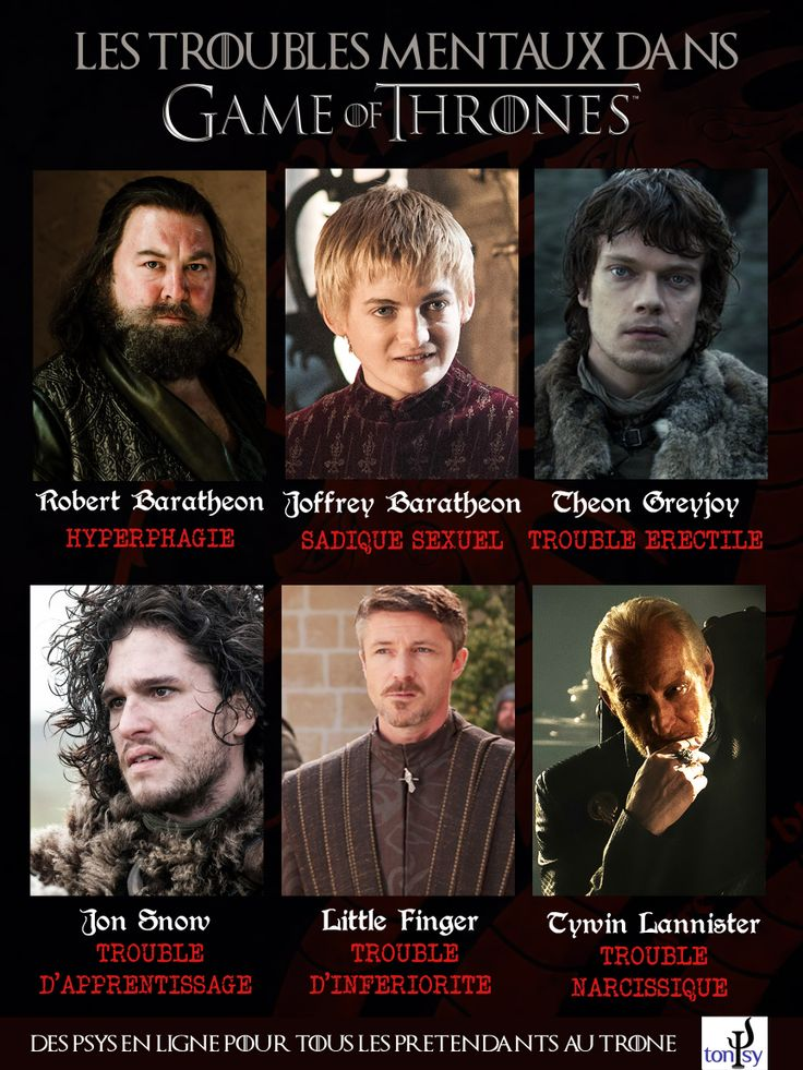 Un peu d'humour sur Game of Thrones.. ! #GameOfThrones #Psychologie #Baratheon #Snow #Lannister