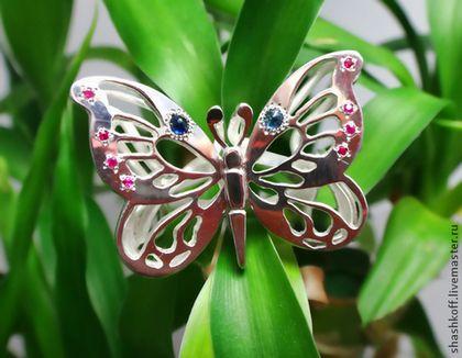"""Кольца ручной работы. Ярмарка Мастеров - ручная работа. Купить Серебряное кольцо """"Бабочка-Sapphire"""". Handmade. Серебряный, кольцо из серебра"""