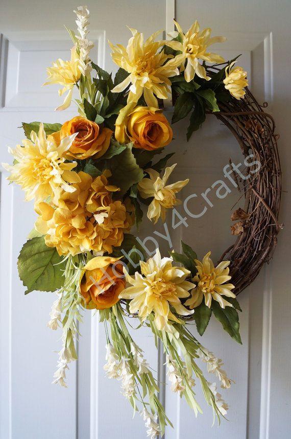 Door WreathFall Wreath Roses Chrysanthemum Wreath by Hobby4Crafts