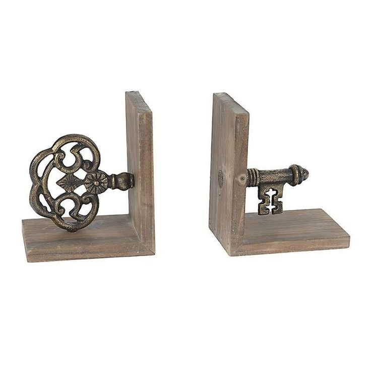 S/2 METAL/WOODEN BOOKEND IN BROWN COLOR 115(30)Χ16Χ18 - Office Decorations - DECORATIONS - inart