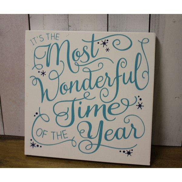 It's the Most Wonderful Tme of the year/wood sign/light aqua/navy... ($28) ❤ liked on Polyvore featuring home, home decor, wall art, grey, home & living, home décor, ornaments & accents, wooden home decor, christmas home decor and grey wall art